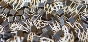 Pile of leaded hall-sensor comoonents